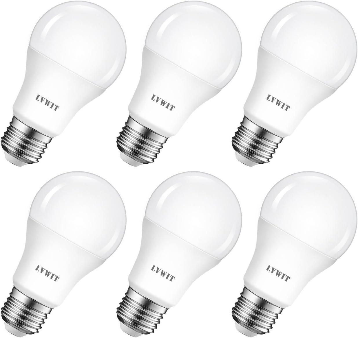 6 Unidades Bombillas LED A60, Casquillo E27, 8.5W equivalente a 60W, 6500K Luz Blanca Fría, 806 lúmenes, Garantía 3 años, No regulable - LVWIT.