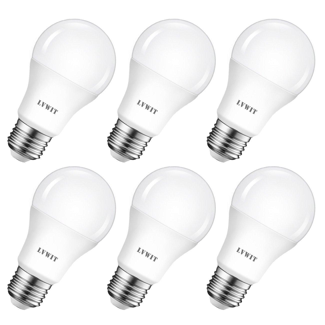 LVWIT Bombillas LED A60, Casquillo E27, 8.5W equivalente a 60W, 2700K Luz Blanca Cálidoa, 806 lm, Bajo consumo, No regulable - Pack de 6 Unidades.