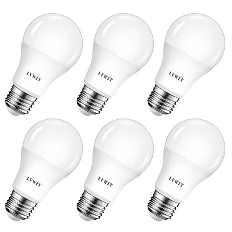 A60 8.5W E27 LED Bulb, 6 Pack, LVWIT 6500K Daylight White Equivalent to 60W Ultra Bright 810Lm Non Dimmable LED Energy Saving Light Bulbs