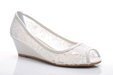 High Quality Off White Lace Wedding Bridal Low Wedge Shoes