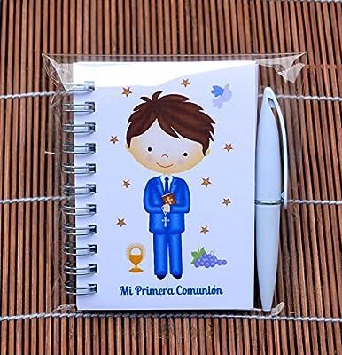Recuerdos y Regalos de Primera Comunión para invitados - Detalles Comunión Niño - Libretas con mini bolígrafo - Pack 15 unidades - ¡Sus Amiguitos ...