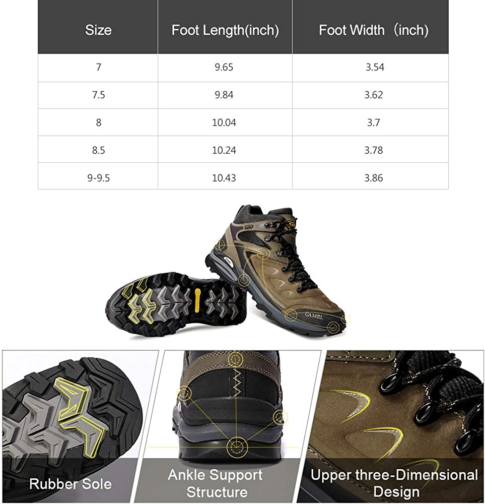 Camel Waterproof Hiking Shoes for Men Shockproof Non-Slip Warm High-top Outdoor