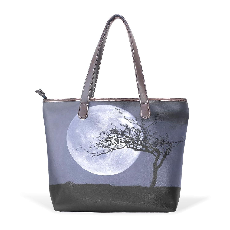WDYSECRET Full Moon Women's Pu Leather Handbag Shoulder Bag Zipper Shopping Bag