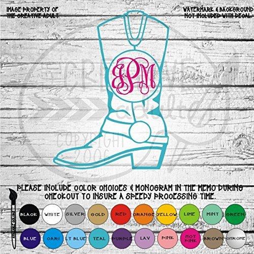 Cowboy Cowgirl Boot Western Monogram Vinyl Die Cut Decal Sticker for Car Laptop etc. (Western Car Stickers)