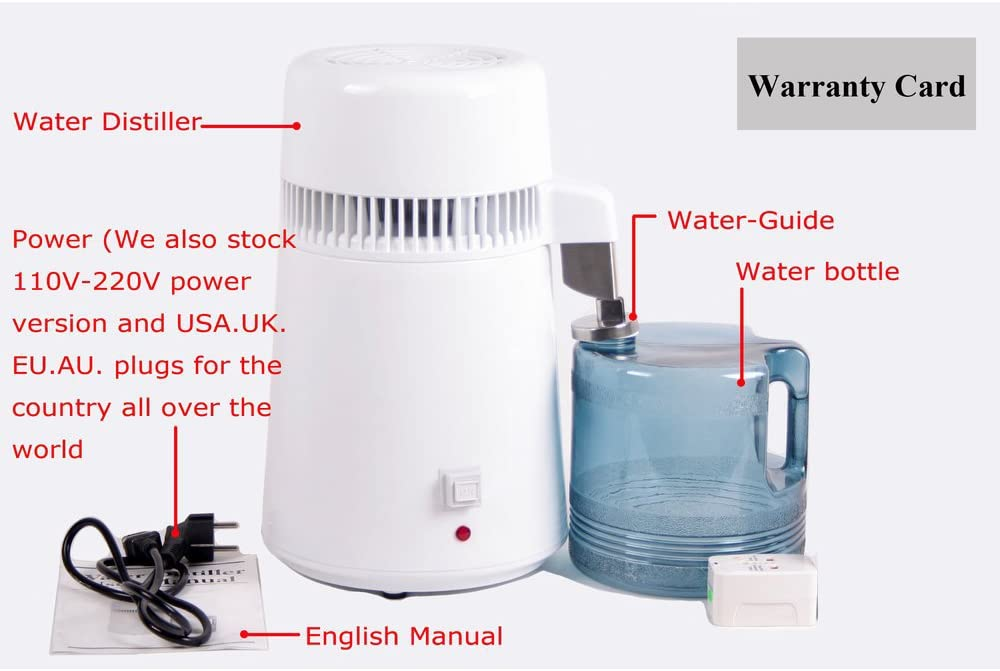 Shipping from Canada White Fencia Pure Water Distiller,4L Stainless Steel Internal Pure Water Distiller Water Filter Distilled Water 110V