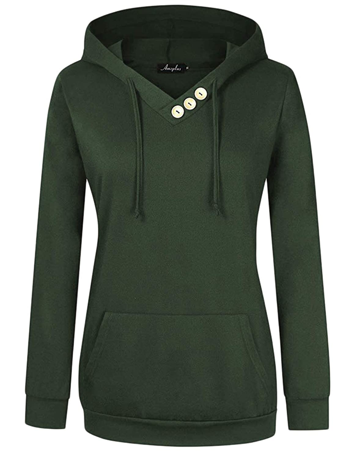 94f5d79d2 Features: AMZ PLUS Long Sleeve V Neck Drawstring Hood Pullover Kangaroo  Pocket Sweatshirt Hoodie with Button Collar Decoration.