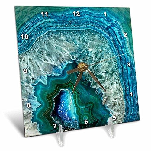 3dRose Luxury Aqua Blue Marble Agate Gem Mineral Stone Desk Clock, 6 x 6