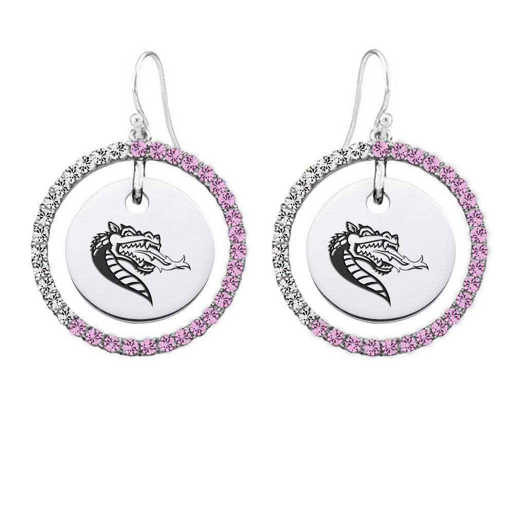 Alabama Birmingham Blazers Pink and White Cz Circle Earrings