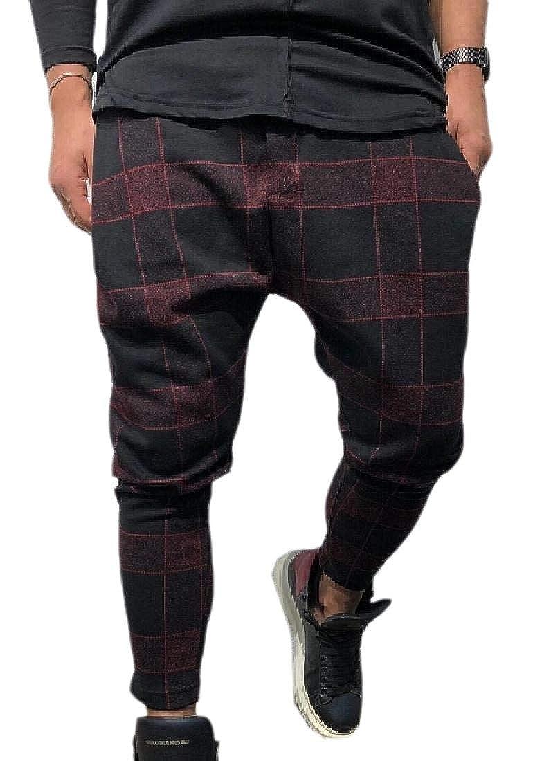 Alion Men Casual Slim Fit Jogging Pants Low Crotch Baggy Harem Pants
