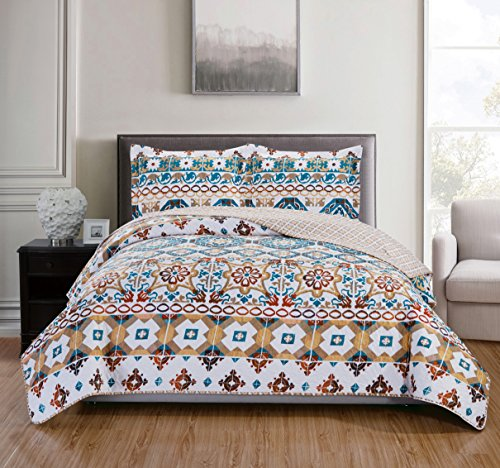 - RT Designers Collection 3 Piece Duncan Reversible Quilt Set, King, Teal/White/Terracotta/Taupe/Beige
