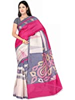 Winza Designer Saree with Blouse Piece (1133_White and Trendy Pink_Free Size)