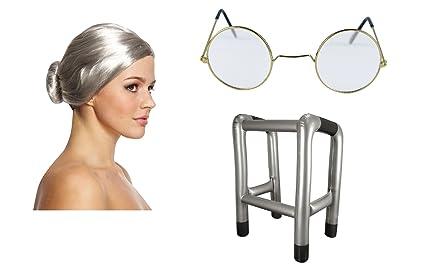 Amazon.com: Old Lady Granny peluca, redondo de anteojos y ...