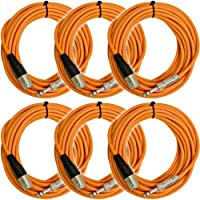 Seismic Audio - SATRXL-M25Orange-6Pack - 6 Pack of 25 Ft XLR Male to 1/4 TRS Patch Cable Snake Cords Balanced - Orange