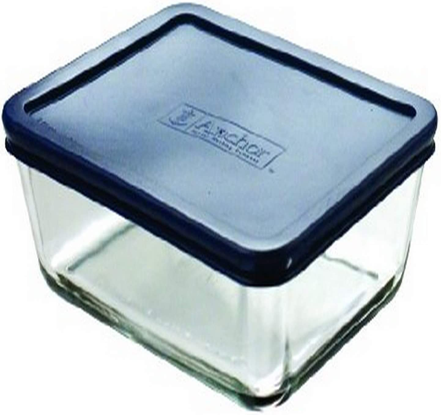 Anchor Hocking 4.75-Cup Rectangular Food Storage Containers with Blue Plastic Lids, Set of 4