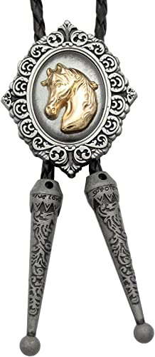 Q/&Q Fashion Vintage Gold Men Horse Head Faux Leather Tips Line Dance Western Cowboy Rodeo Bolo Tie