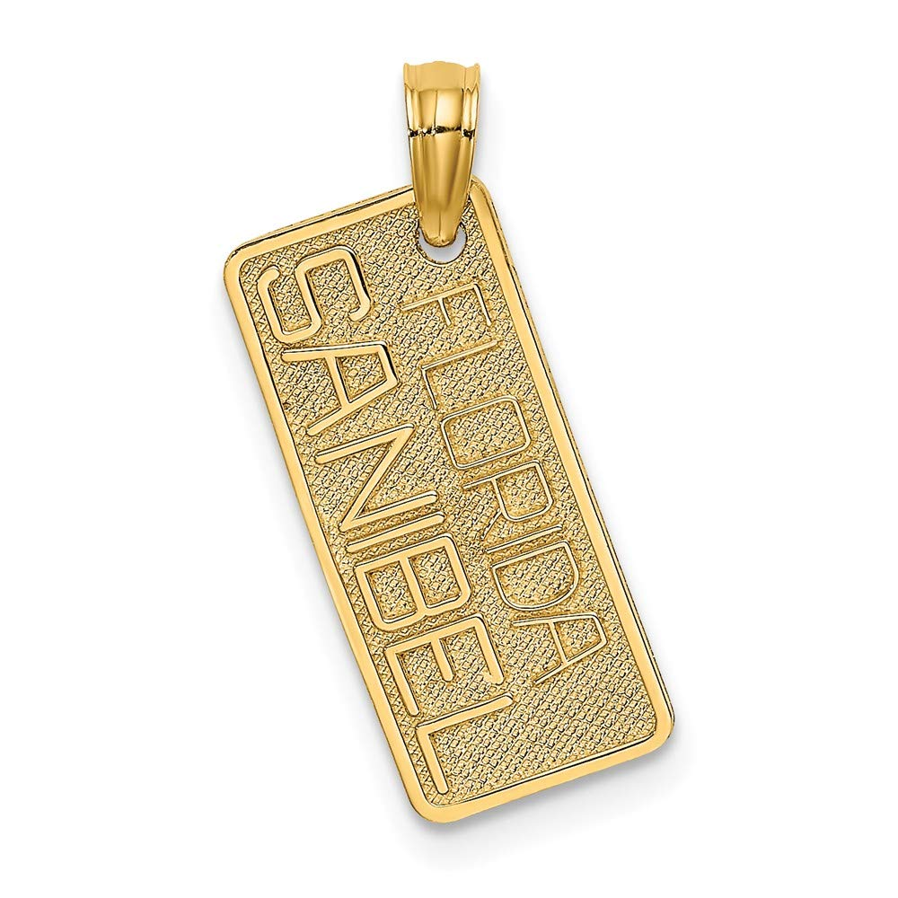 Jewels By Lux 14K Yellow Gold Small Fl-Sanibel License Plate Textured Pendant
