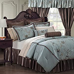 24 Piece Amaryllis Blue Comforter w/Sheets/Curtain Bedroom Ensemble Set Queen