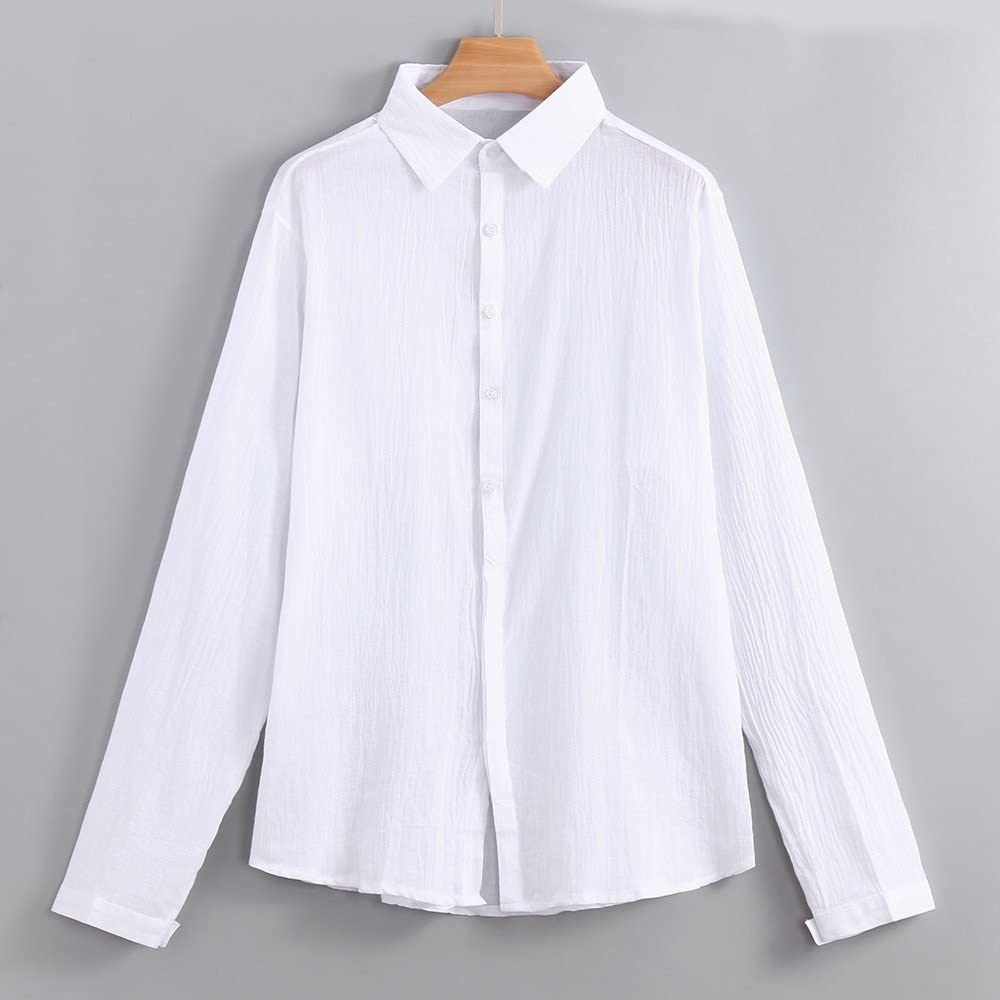 Zcuhen Mens Linen Beach Shirts Long Sleeve Casual Cotton Summer Button Up Lightweight Tops Yoga Loose Fit Tops Blouse