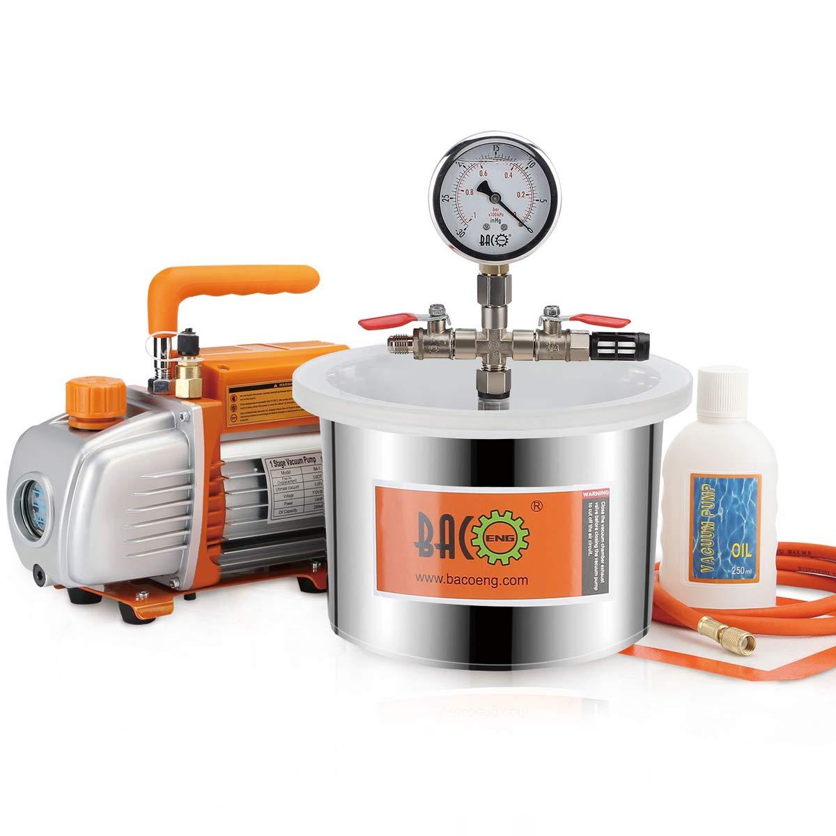 Bacoeng 6.8//12//19/litri aspirapolvere camera kit con 3/cfm singola fase pompa a vuoto con 3/pin spina UK