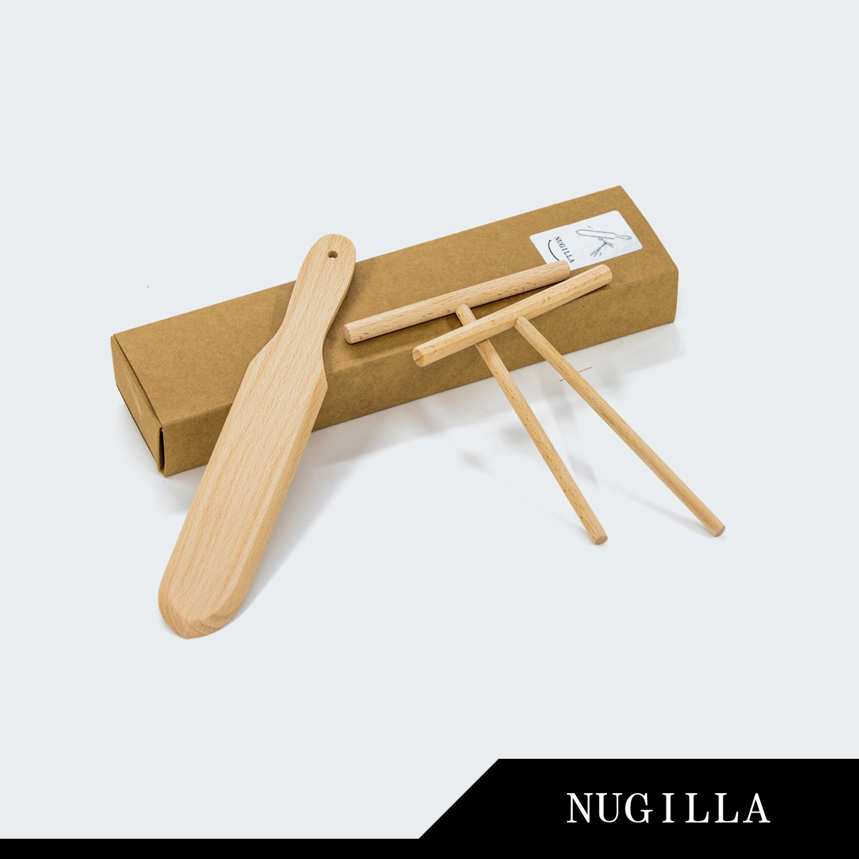 Nugilla Original Crepe Spreader and Spatula Set – 3 Pieces 10-inch Spatula   4.7-inch Spreaders – Premium Beechwood for Crepe Pan Maker/Breakfast Pancakes by Nugilla (Image #3)