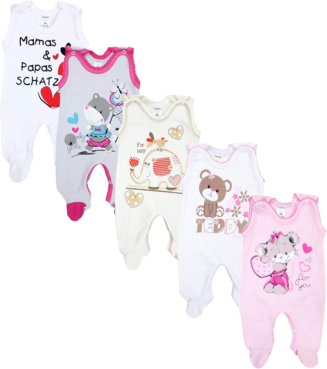 Pack of 5 TupTam Sleeveless Baby Rompers with Prints