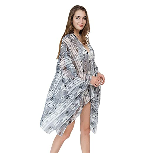 a122938899721 Flosky 3 Colors Women Long Sleeves Summer Swimsuit Cover Up Ethnic Fancy  Colored Geometric Graphic Pattern
