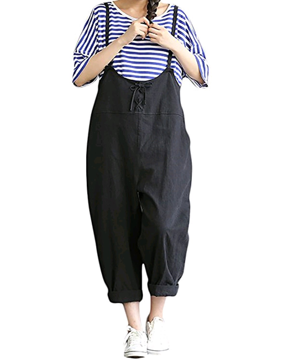 GZBQ Overalls for Women Casual Cotton Jumpsuit Plus Size Baggy Bib Wide Leg Overalls Pants Black 2XL by GZBQ (Image #1)