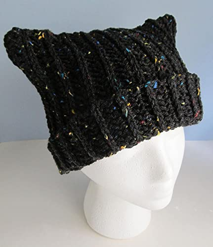 Amazon.com  Crochet Cat Ear Hat   Rolled Cuff Hat with Ears   Frosty Black  Fleck Ribbed Adult or Teen Cap   Kitty Ear Knit Skull Cap   Ribbed Cable Hat   ... b6e91750a72
