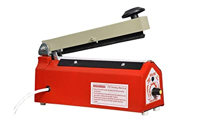 Hand Heat Sealing packaging Machine impulse sealer (size:8 inch, red)