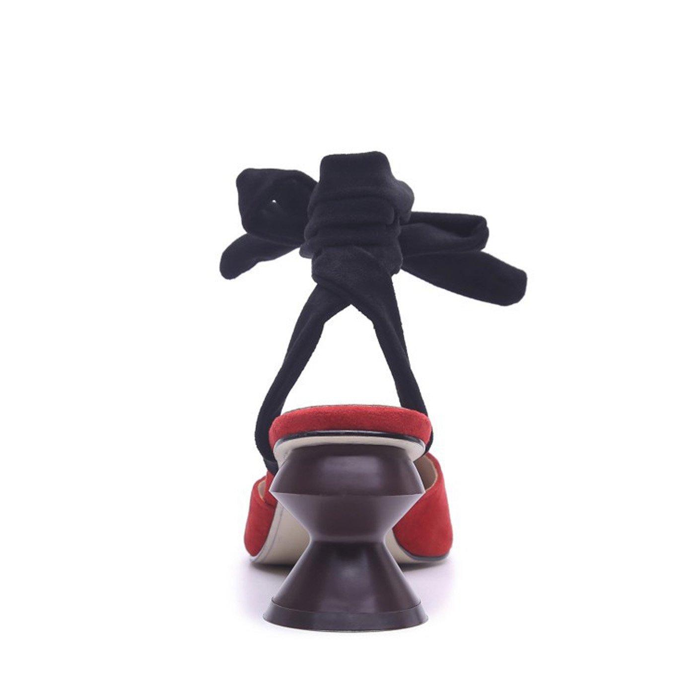 ZXMXY Damenschuhe Frühling Sommer Basic Pump Pump Pump Comfort Sandalen Kreative Ferse für Casual schwarz rot Sandalen im Freien 2139ee