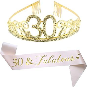 Amazon.com: Tiara y faja dorada de 30 cumpleaños con ...