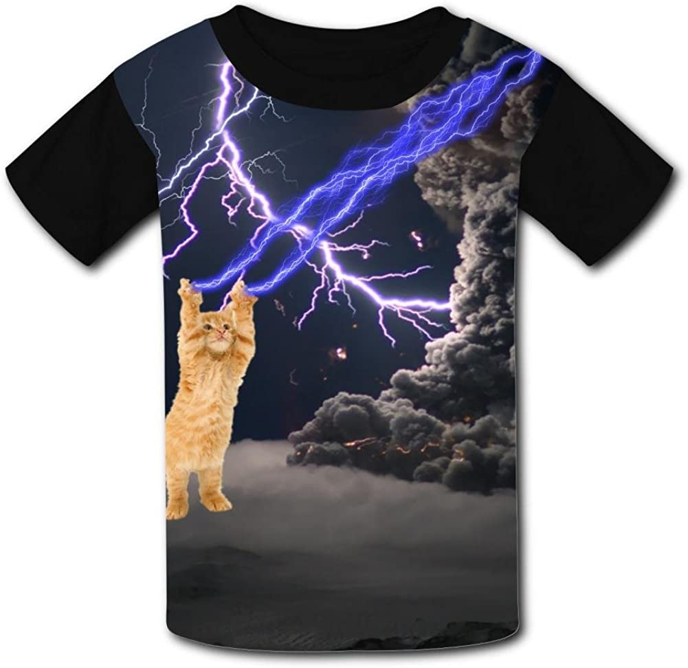 Kids//Youth Lightning Cat Facing The Storm T-Shirts Short Sleeve Children Tees