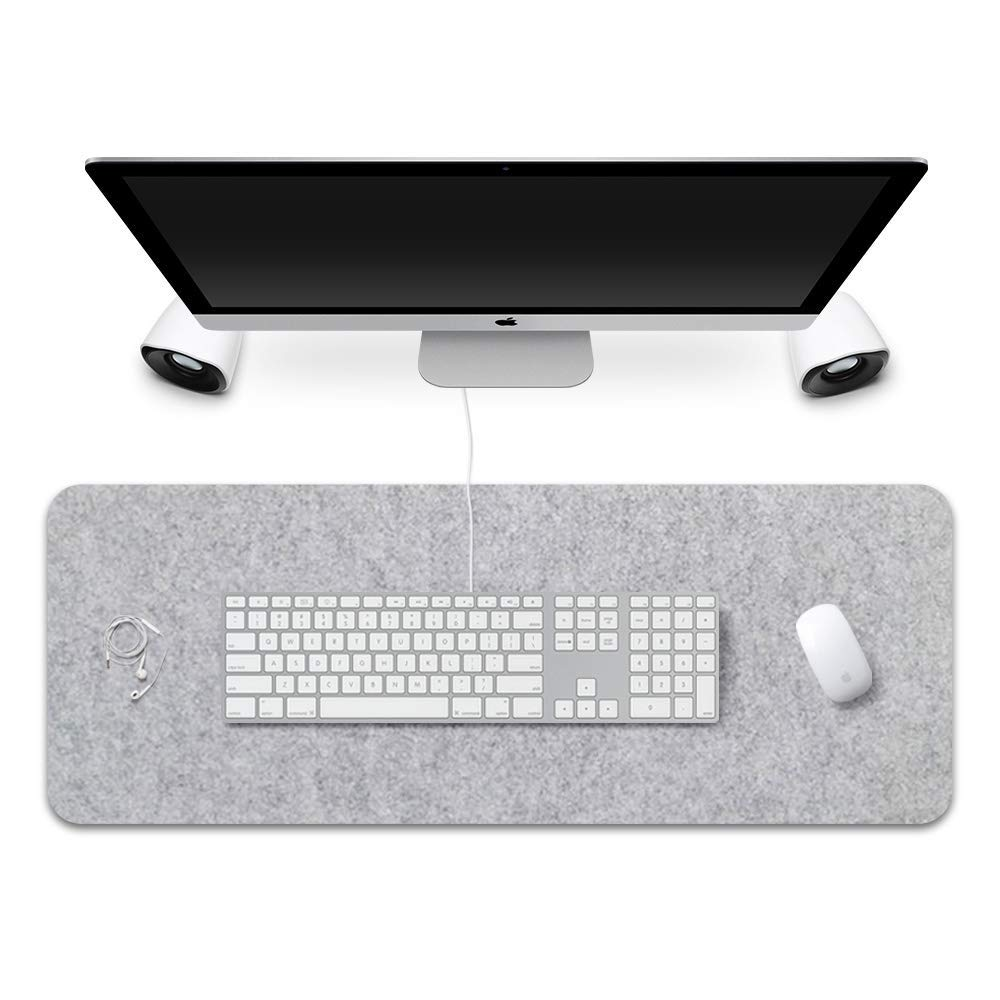 Extended Gaming Mouse Pad Non-Slip Desk Pad Protector Office Writing Mat Felt Base 0.12 Inch Thick (Light Gray)