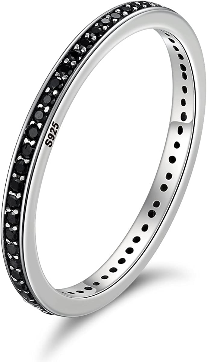 WOSTU 2MM Thin Band Eternity Rings 925 Sterling Silver Black Cubic Zirconia Egagement Rings Wedding Anniversary Stackable Rings for Her
