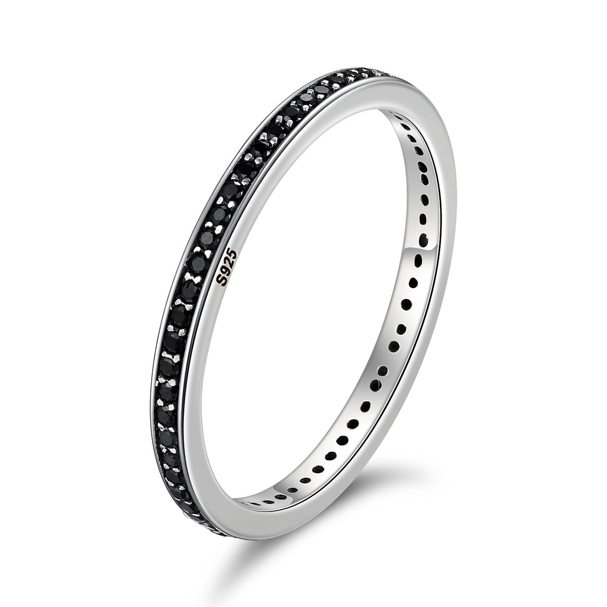 WOSTU 2MM Thin Band Eternity Rings 925 Sterling Silver Black Cubic Zirconia Egagement Rings Stackable