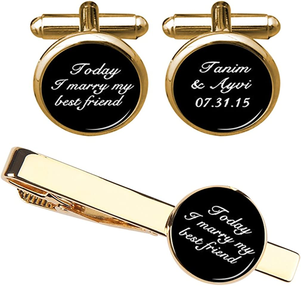 ZUNON Wedding Cufflinks Today I Marry My Best Friend Cufflinks & Tie Clips Custom Groom Bride Name Wedding Gift
