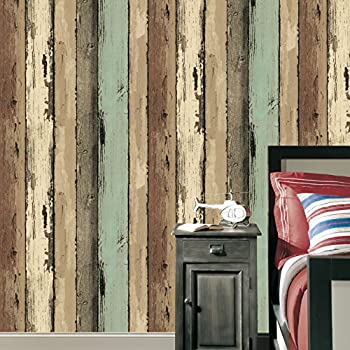 Rustic Design Wood Plank Wallpaper  Faux Wooden Retro Texture Wallpapers  Decorating Bedroom Living room Hotel. RoomMates RMK9052WP 28 18 Square Feet Blue Distressed Wood Peel