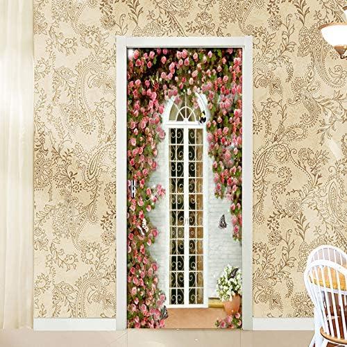 DOORWP Decoración para el hogar Etiqueta de la Puerta Jardín Europeo Rose House Wallpaper Sala de Estar Vinilos para Puertas de Vinilo Autoadhesivo Puerta Mural Etiqueta de la Pared: Amazon.es: Hogar