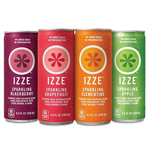 IZZE Sparkling Juice, 4 Flavor Variety Pack, 8.4 oz Cans, 24 Count (Passion Tea Fruit Blackberry)