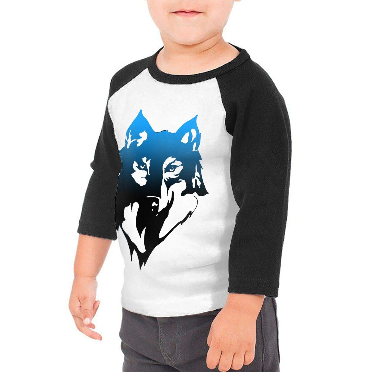 Gray Wolf Unisex Toddler Baseball Jersey Contrast 3//4 Sleeves Tee