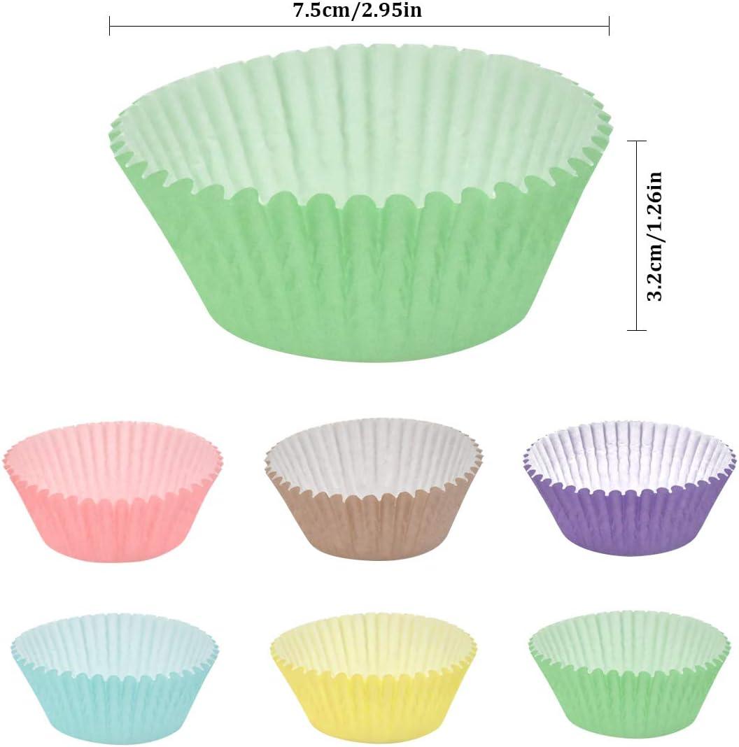 Caissettes /à Cupcakes Cas de Papier demballage de Petit G/âteau Muffin Tasses 6 Colors 200 Pi/èces Mini Cas de Muffins Doublures de G/âteau pour la F/ête de Mariage dAnniversaire Dessert