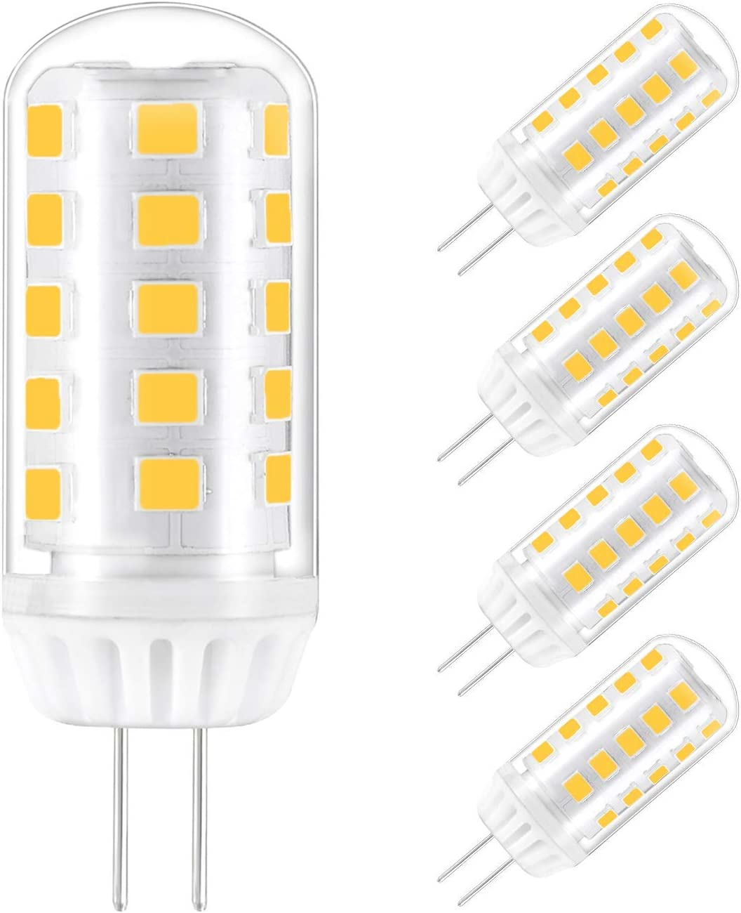 5 Pcs G4 LED Lamp 4W Warm White Bulb Replacement for 40W Halogen Bulbs 12V AC/DC 360 Beam Angle Dimmable [Energy Class A +]