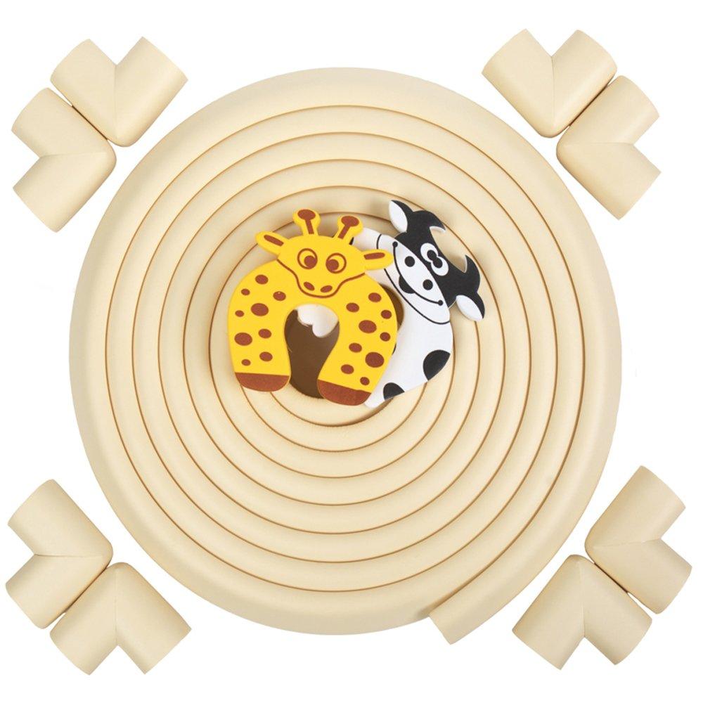Zindoo 5,2M Protection de Bord de Longueur + 8 Protecteurs d'angle et 2 Protecteurs d'enfant, Protecteur de Table d'angle de Meubles de Mousse Douce Pour la Sécurité de Bébé et de Famille WZD-Store