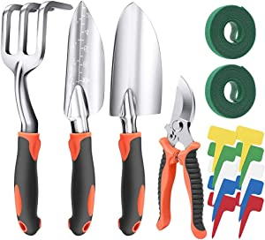 Garden Tool Set - 4 Piece Cast-Aluminum Heavy Duty Gardening Kit Includes Hand Trowel, Transplant Trowel, Cultivator Hand Rake and Pruning Shears | Bonus of 20ft Garden Ties & 10 Pcs Plant T-Type Tags