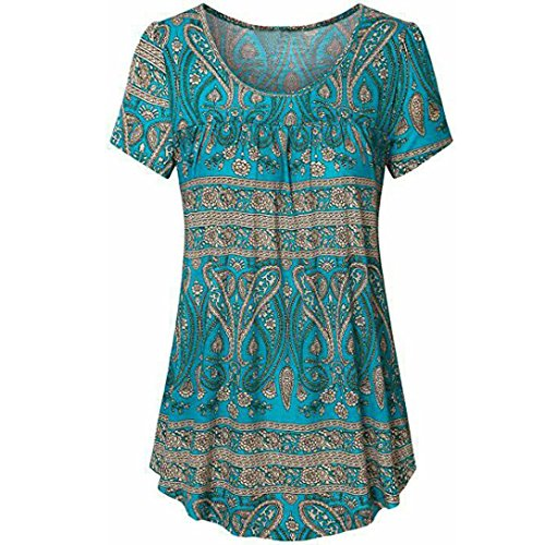 Price comparison product image Forthery Women Blouse 3 / 4 Sleeve Floral Tunic Tops Summer Shirts Clearance Sale (M,  Blue2)