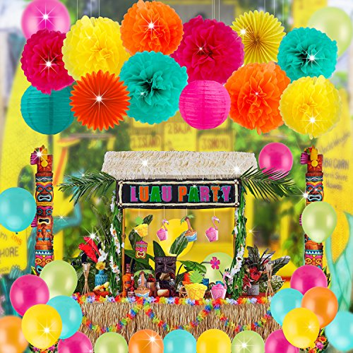 Govine 42PCs Festive Fiesta Cinco de Mayo Party Supplies Decorations Paper Pom Poms Flowers Paper Fans Lanterns Balloons for Mexican Carnival Pool Luau Hawaiian Moana Party Supplies Decorations