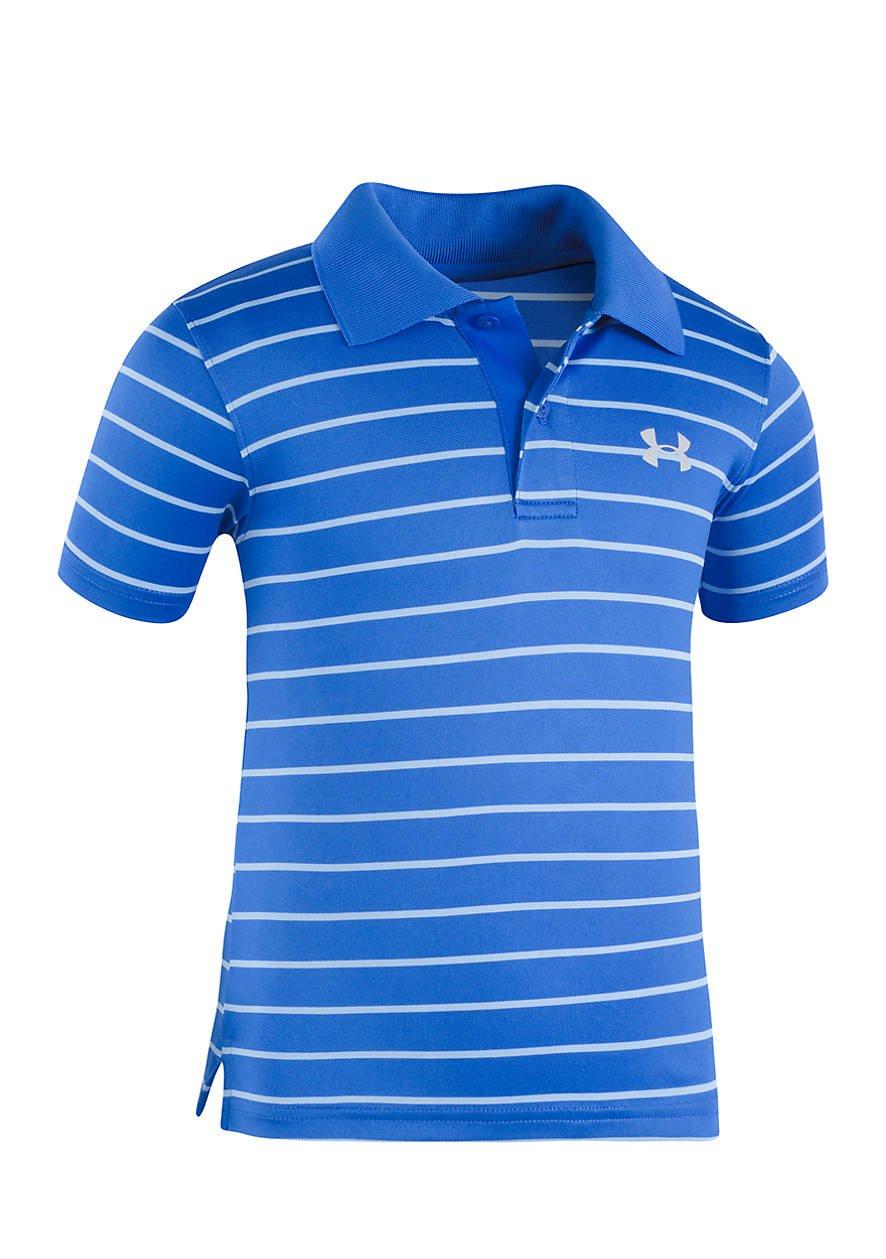 Under Armour Baby' Ua Logo Short Sleeve Polo, Ultra Blue Stripe, 18M by Under Armour