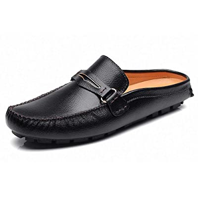 Men's Classic Leather Slippers Office Casual House Slip On Backless Loafers | Mules & Clogs
