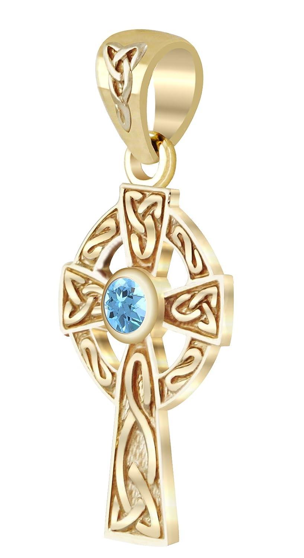 New Small Solid 14k Yellow Gold Irish Celtic Cross Genuine Aquamarine Pendant