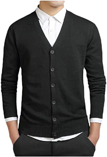UUYUK Men Shawl Collar Knit Basic Double-Breasted Sweater Cardigan